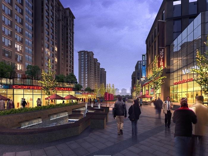 现代商业街及建筑psd效果图,可直接下载用于相关商业环境素材设计使用
