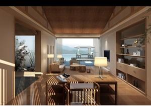 某现代室内别墅客厅空间psd效果图