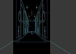 电梯厅设计3d模型