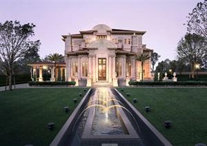 美式私人别墅住宅设计psd效果图