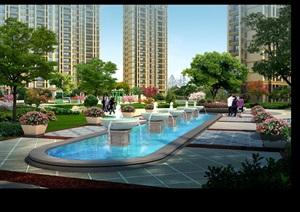 现代住宅小区中庭景观设计psd效果图-居住区住宅区园林景观设计方案