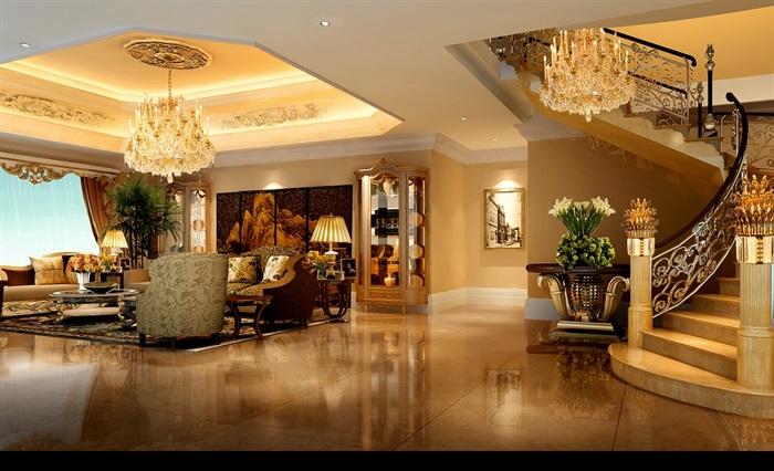 欧式详细别墅客厅空间设计psd效果图[原创]图片