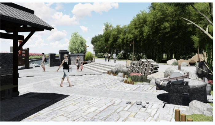 乡村野趣广场景观设计su模型(1)