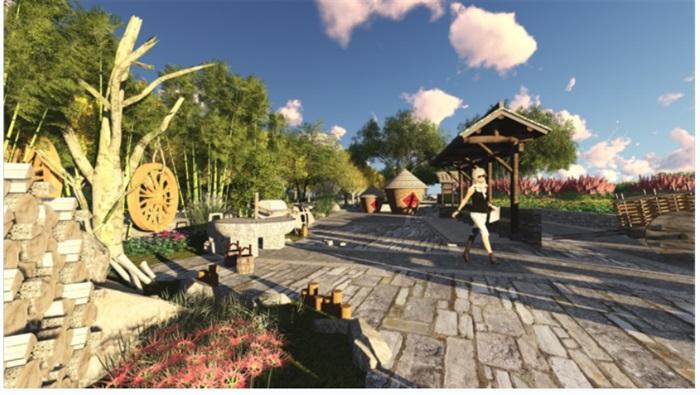 乡村野趣广场景观设计su模型(2)