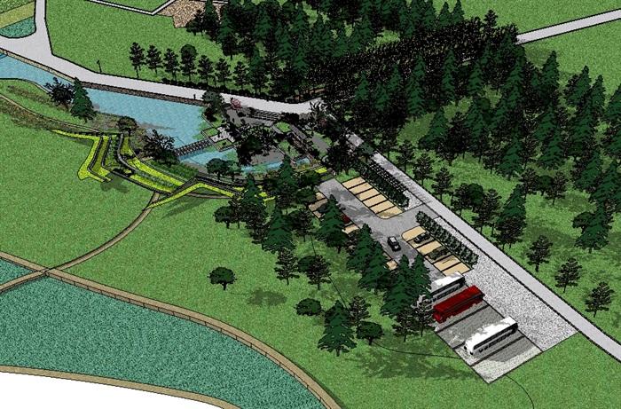 乡村野趣广场景观设计su模型(3)