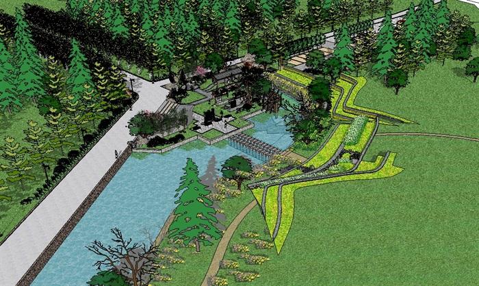 乡村野趣广场景观设计su模型(4)