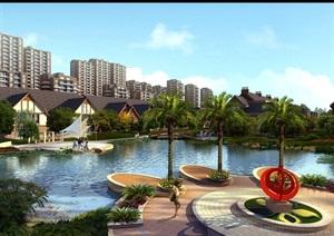 某东南亚别墅小区景观psd效果图