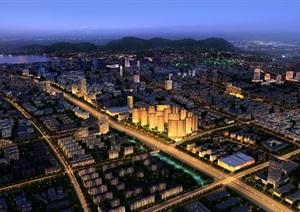 现代详细的大型城市景观psd效果图