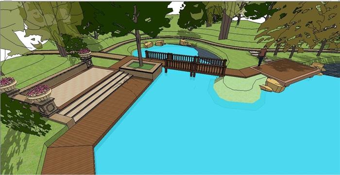 新古典小游园景观设计su模型[原创]