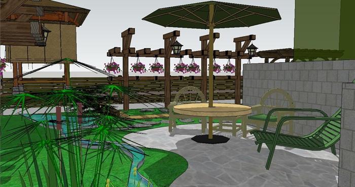 住宅小庭院花园景观设计su模型[原创]