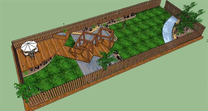 长方形庭院花园景观su模型[原创]