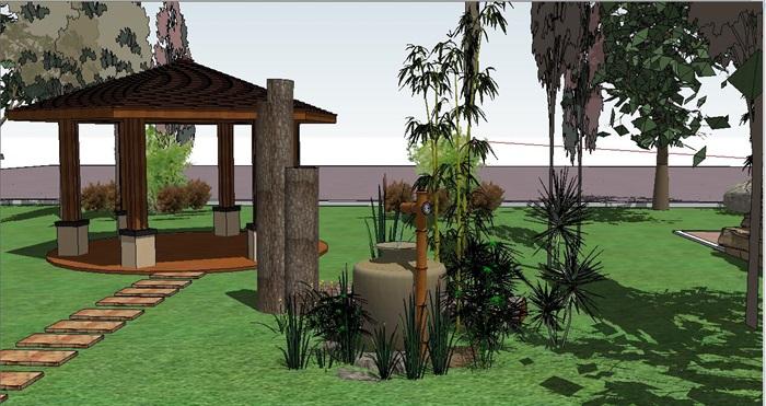 中式小游园景观环境设计su模型[原创]