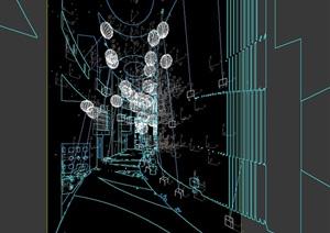 现代详细室内过道走廊设计3d模型