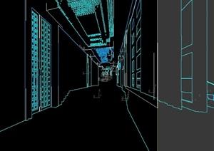 现代走廊过道设计3d模型