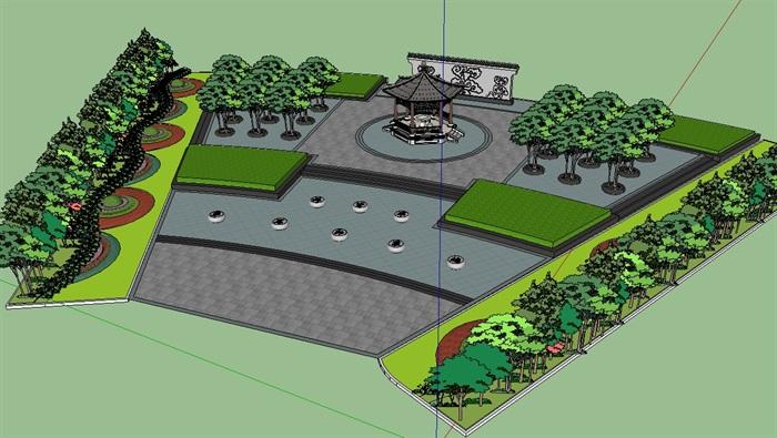 古典中式风格详细的广场景观su模型[原创]