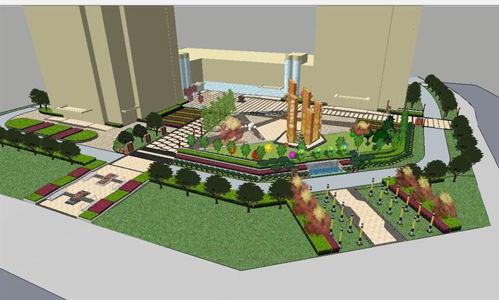 某现代风格详细独特的广场设计su模型(1)