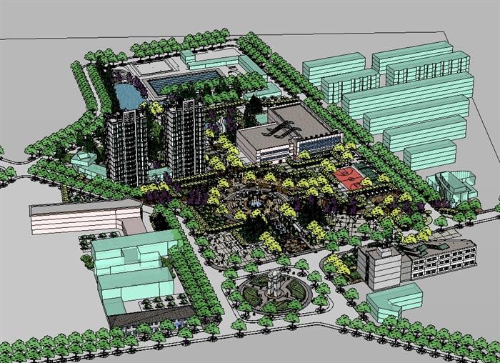现代风格详细的社区广场景观设计su模型[原创]