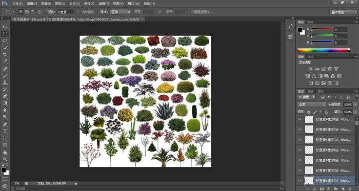 乔木、灌木、地被植物psd素材(2)
