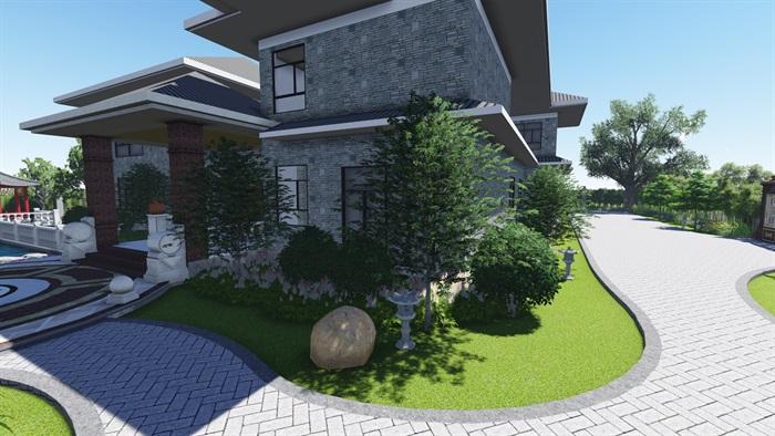 中式风格别墅庭院景观设计效果图(1)