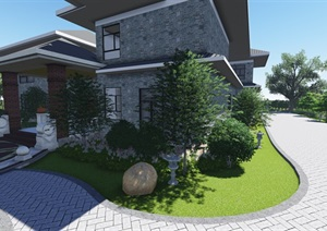 中式風格別墅庭院景觀設計效果圖