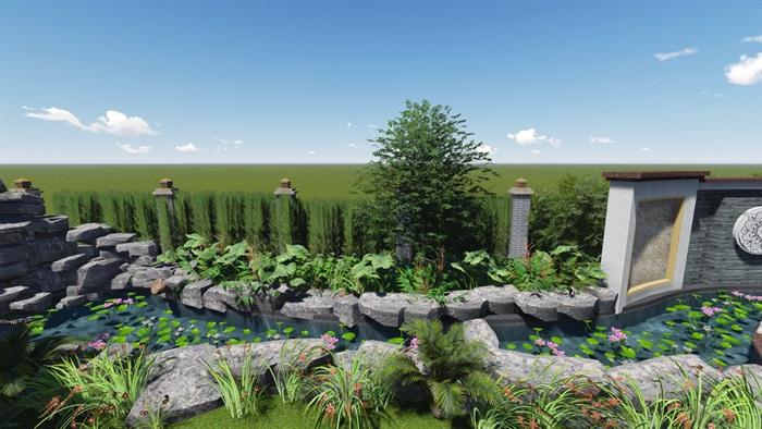中式风格别墅庭院景观设计效果图(2)