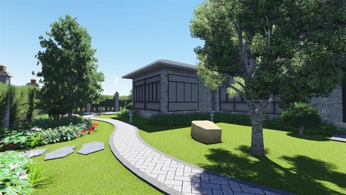 中式风格别墅庭院景观设计效果图(6)
