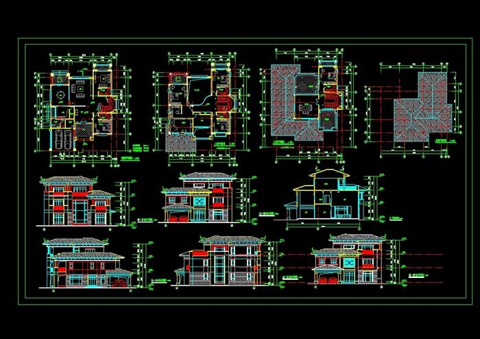 欧式详细的别墅设计cad平立剖面图[原创]