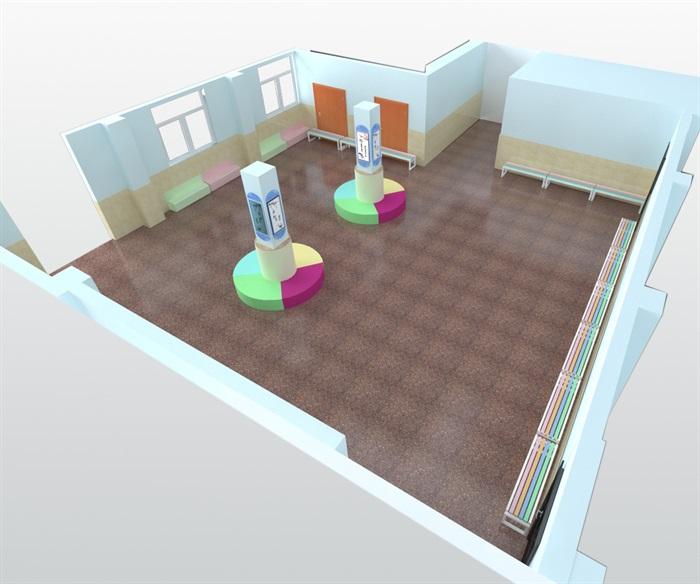 阅览室室内空间设计3d模型