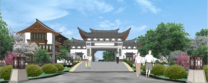 梅林山庄中式详细建筑设计su方案