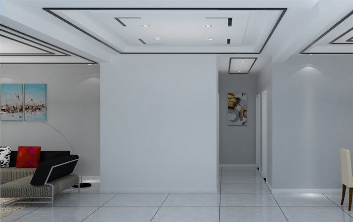 后现代风格客餐厅室内设计su模型含效果图