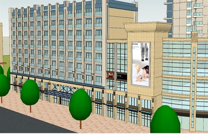 高层住宅加底商建筑设计su模型(2)