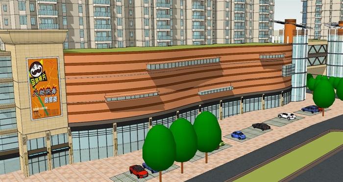 高层住宅加底商建筑设计su模型(3)