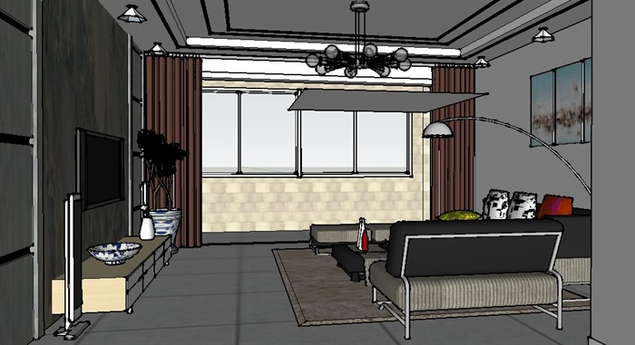 后现代风格客餐厅室内设计su模型含效果图(4)