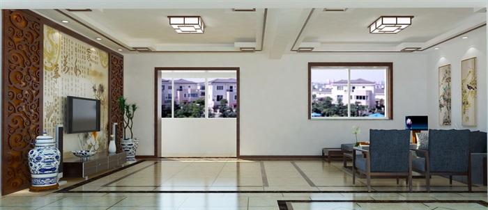 新中式客厅室内设计su模型含效果图