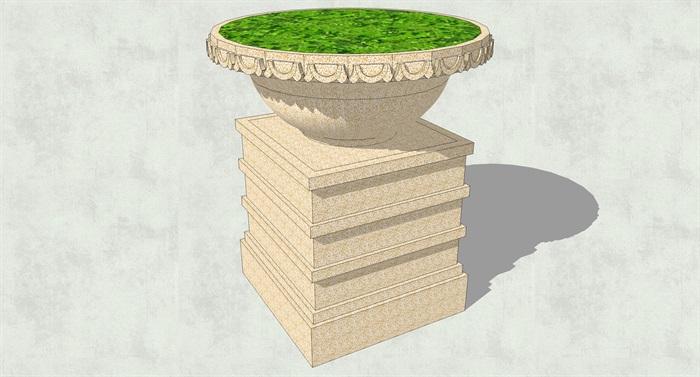 多款精致欧式花钵花盆花池su模型[原创]