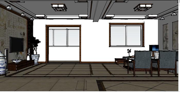 新中式客厅室内设计su模型含效果图(2)