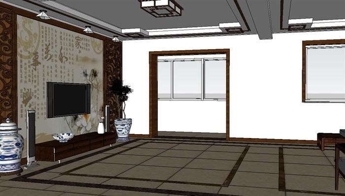 新中式客厅室内设计su模型含效果图(3)
