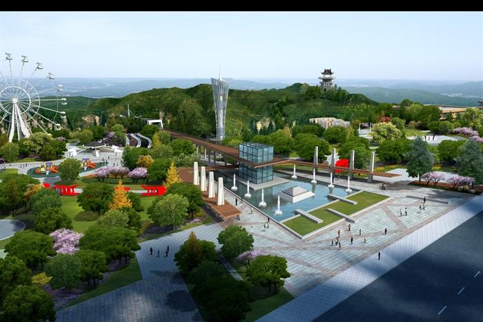 山地公园的入口广场景观设计psd鸟瞰图[原创]