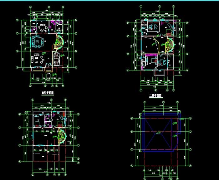 新小户型别墅设计cad施工全套图
