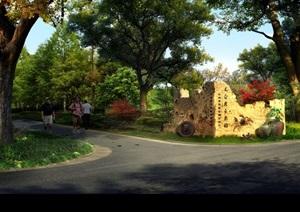 公园入口景观设计PSD透视图