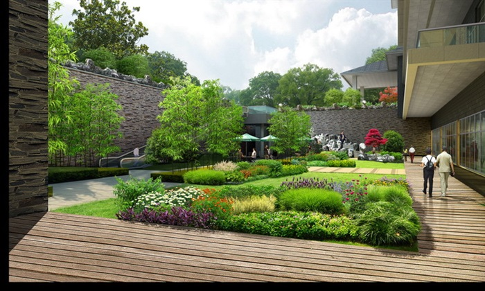 现代中式庭院景观psd效果图[原创]图片