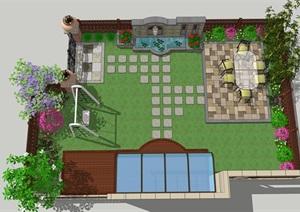 庭院花园详细景观SU(草图大师)模型