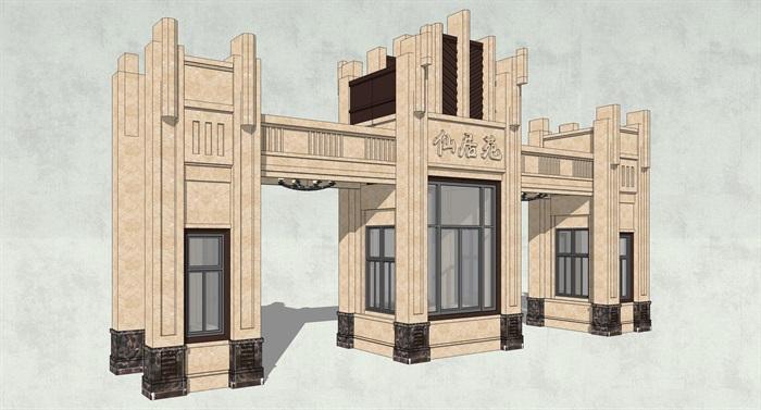 法式建筑风格经典入口大门su模型[原创]图片
