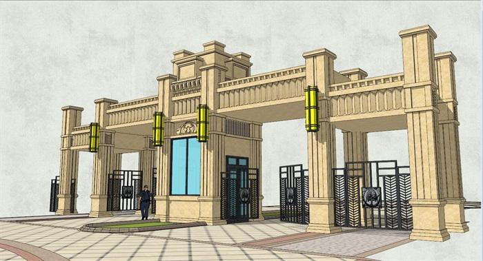 经典欧式小区入口大门及前广场景观su模型[原创]