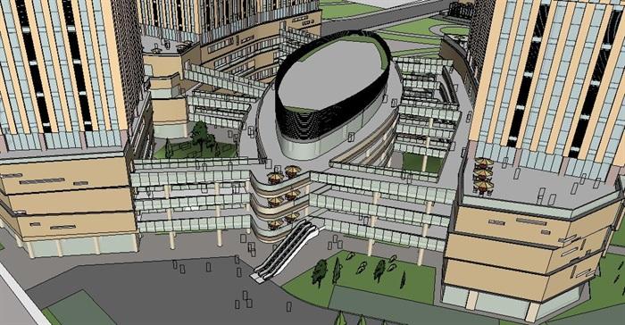 武汉某超高层商业商务综合体项目概念方案SU模型