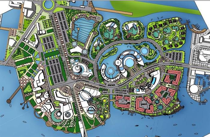 上海某大型水上主题乐园、休闲度假乐园城市设计SU模型