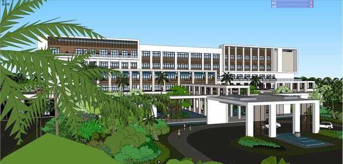 现代风格酒店景观及建筑su模型
