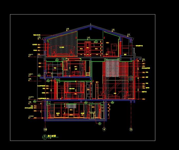 某别墅室内设计cad施工图及实景图片