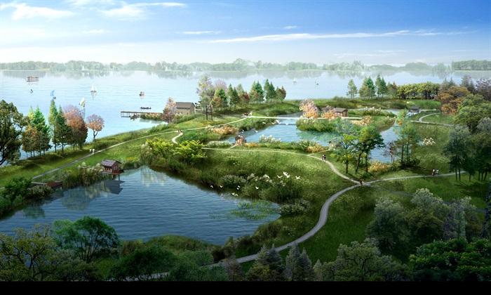 武汉某滨水湿地公园景观设计psd鸟瞰图[原创]