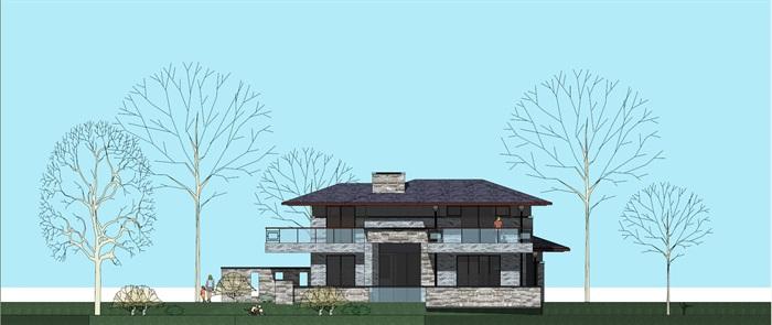 独栋别墅民国风建筑设计su模型